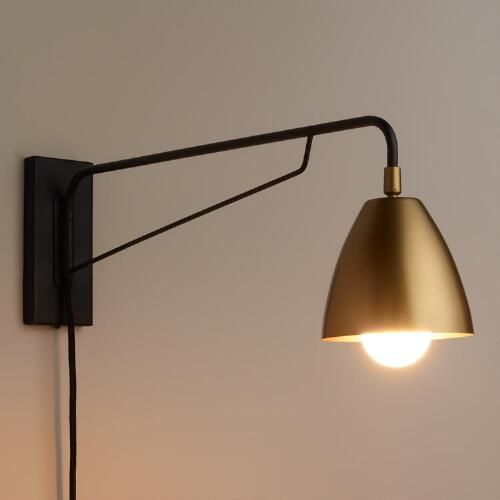 Corner Wall Sconce Plug In : Brass Nook Pivoting Wall Sconce Nooks, Design and Living rooms