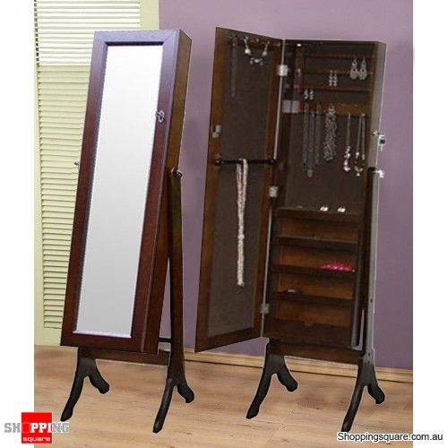 Wooden Mirrored Jewellery Full Length Storage Cabinet (Brown)-Original  Style - Shoppingsquare Australia
