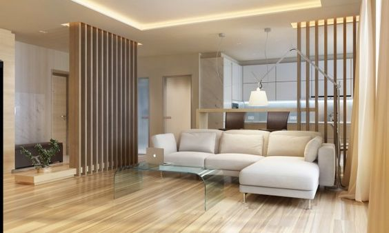 Over in the third apartment, these wooden slat room dividers are lit from above by their very own recessed light wells.