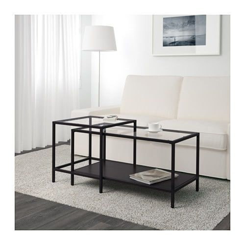Vittsjo ヴィットショー ネストテーブル2点セット ブラックブラウン ガラス 90x50 Cm Ikea インテリア Ikea テーブル 家具のアイデア