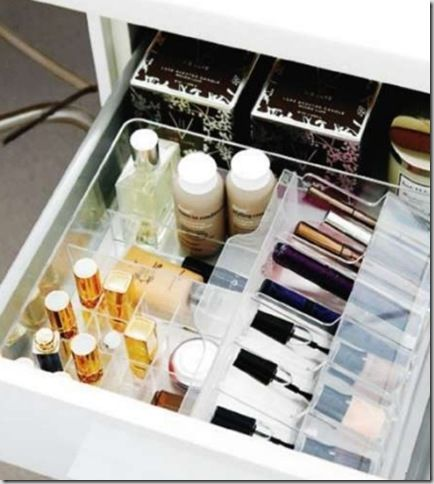 Clear acrylic cosmetics drawer organizers from Ikea.