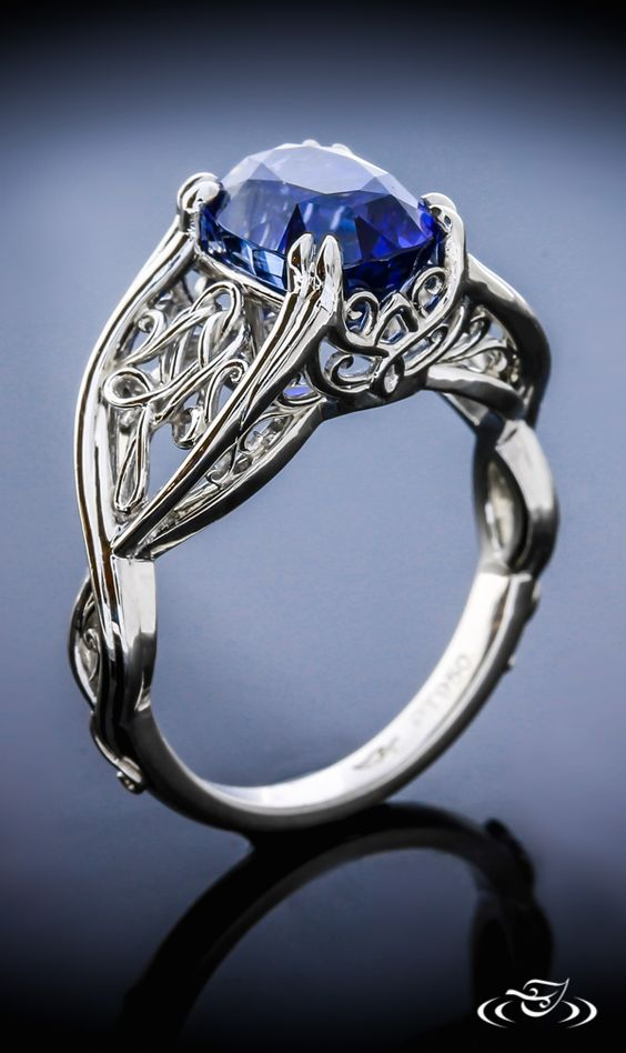 BEST of 2015 at Green Lake Jewelry: A blue Sapphire sits atop floating knotted Filigree details.