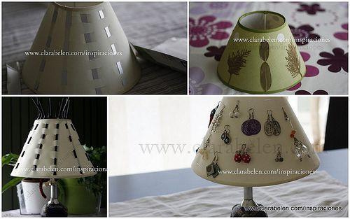 Cómo organizar los pendientes y bisutería en una pantalla de lámpara - Inspiraciones: manualidades y reciclaje