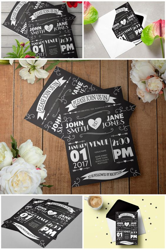 Chalkboard Wedding Invitation Template Rustic Wedding Invitation - chalk board invitation template