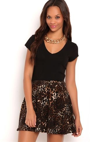 Deb Shops Knit #Skater #Skirt with# Cheetah Print