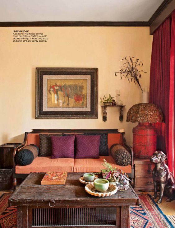 Colorful indian homes traditional designers guild and for Indian ethnic living room designs