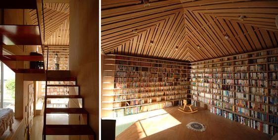 bookshelves via flavorwire