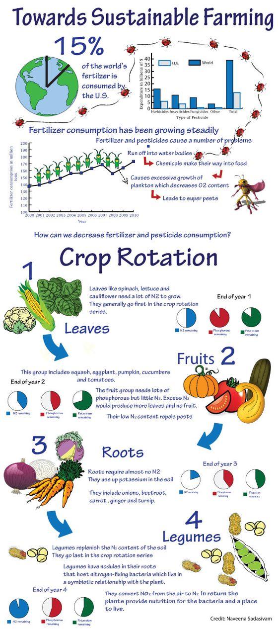 decrease fertilizer and pesticide use with crop rotation methods