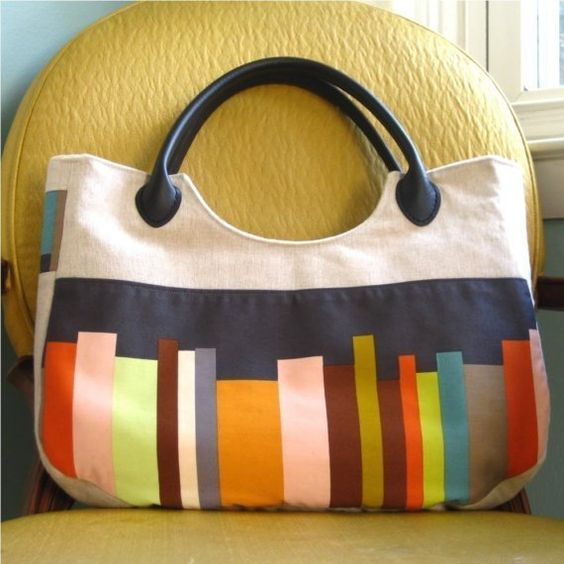 largish linen purse with faux leather handles by MurrayAdams