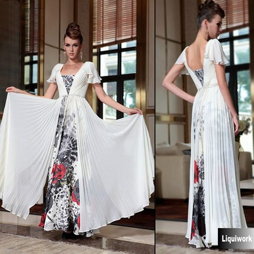 Unique Ivory White Gray Floral Cap Sleeve Evening Ball Gown Dress Shop SKU-122720