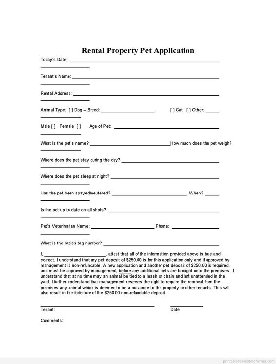 Printable Sample Free Rental Agreement Template Form Animals I - proof of employment