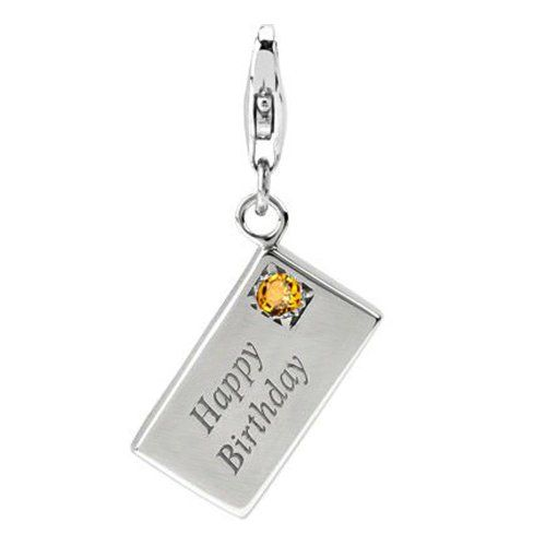 Sterling Silver Happy Birthday Card Charm with Lobster Clasp ,Citrine November Birthstone , Width 3/8 Inch, Length 1/1/2 Inch, Weight 3.8g, Fits Traditional Charm Bracelet, Best Gift for Birthday ARG http://www.amazon.com/dp/B0084XABH2/ref=cm_sw_r_pi_dp_aoMmwb0CH3NNE