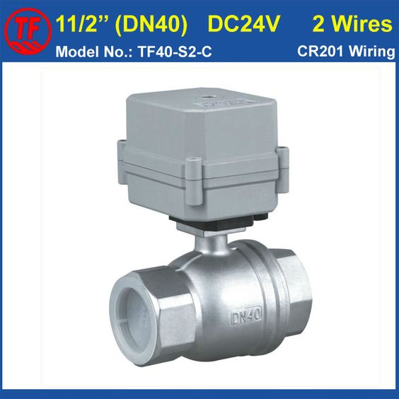 Dc24v 2 Wires Stainless Steel 304 11 2 Dn40 Full Port Actuated Ball Valve 2 Way Metal Gear Ip67 For Water Cont Stainless Steel 304 Metal Gear Stainless Steel