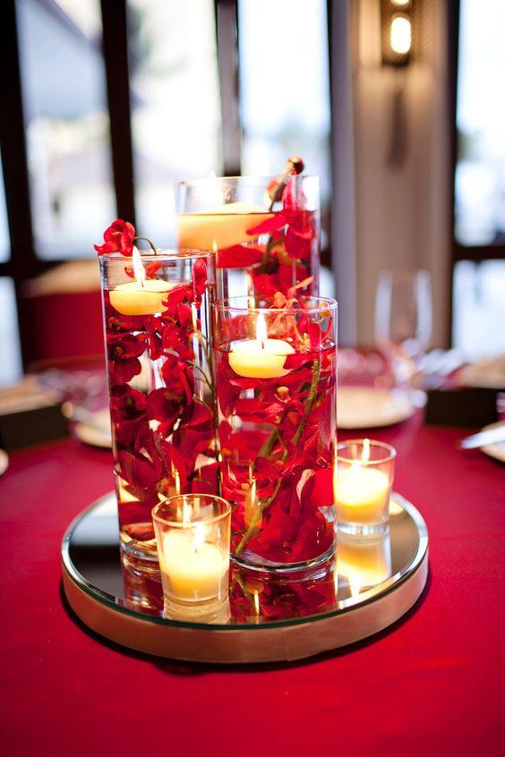 Our DIY red wedding submerged floral centerpieces, Halekulani Hau Terrace:
