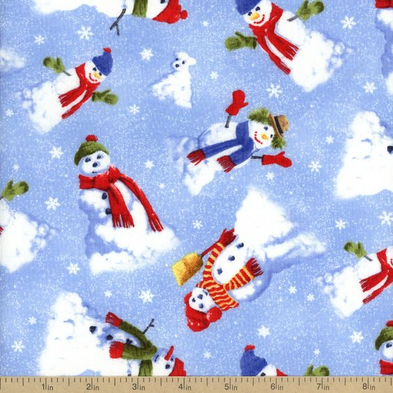 Snow Day Snowmen Allover Cotton Fabric - Blue by Beverlys.com