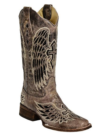 Corral Black Sequin Wing & Cross Inlay Cowgirl Boots - Square Toe