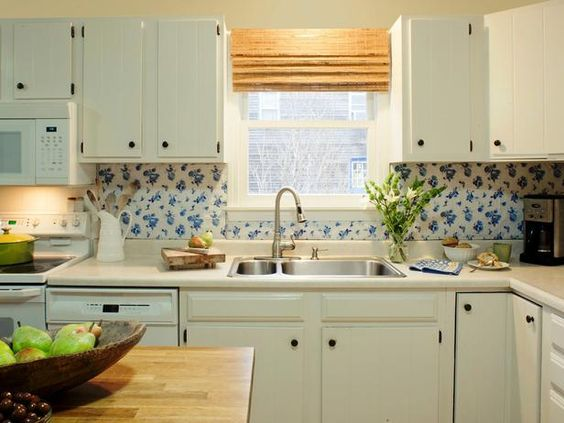 Budget backsplash project vintage vinyl pinterest for Cheap diy kitchen backsplash ideas