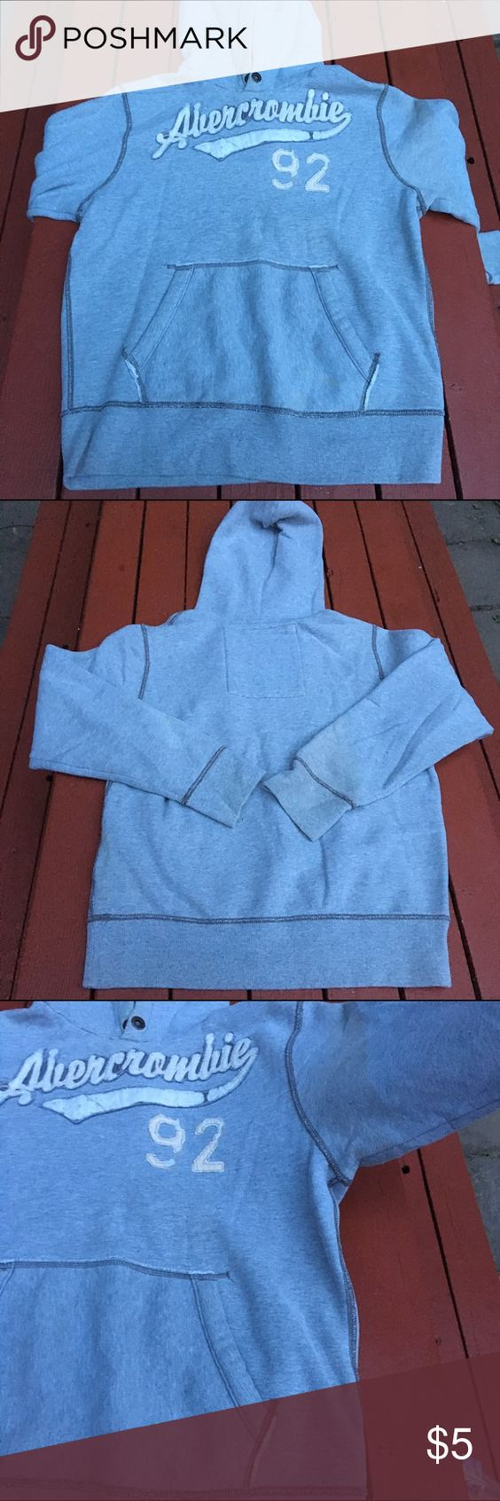 Abercrombie Mens Hoody 3rd picture, flaws. Grey, distressed logo. Abercrombie New York size XL. Abercrombie & Fitch Shirts Sweatshirts & Hoodies