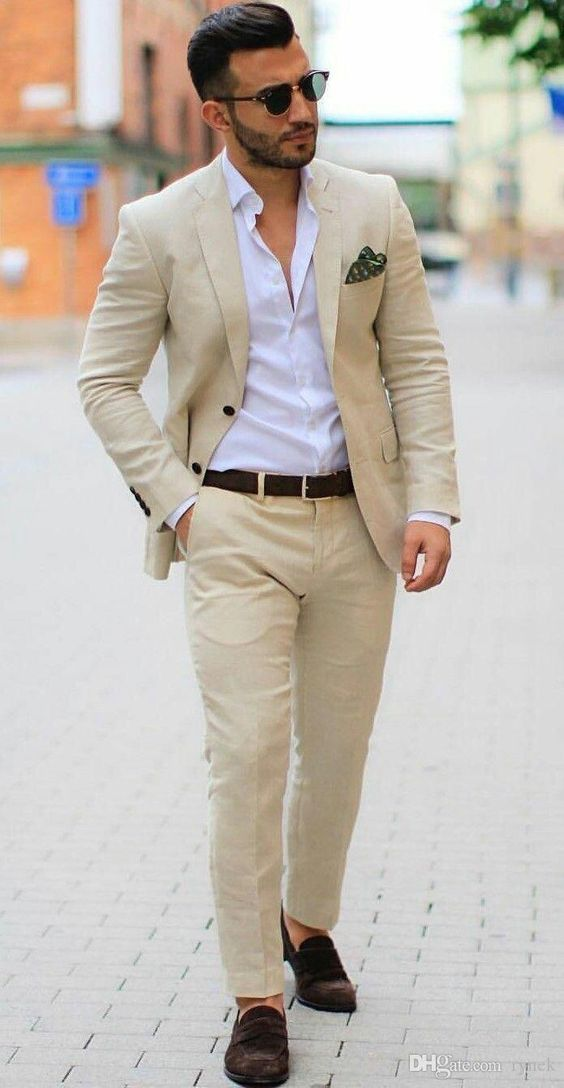 Summer Khaki Linen Groom Tuxedos Wedding Suits for Men Notched Lapel Two Buttons Man Blazer Coat Pants Jacket Trousers Costume Homme