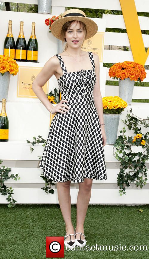 Dakota Johnson @ The Seventh Annual Veuve Clicquot Polo Classic wearing black and white dress and matching shoes Sunday 1st June 2014