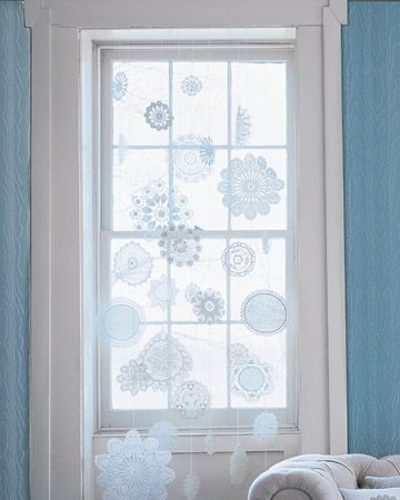 Stiffened Doilies Make Great Snowflakes                                                1. Lay textile doilies on a covered surface. With a foam brush or roller, coat both sides of doilies with undiluted fabric stiffener until just saturated. Let dry overnight.    2. Press with an iron. Hang from thread or monofilament.