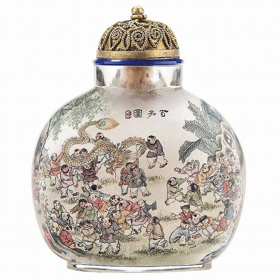Chinese Inside Painted Glass 'Boys' Snuff Bottle - by Doyle New York