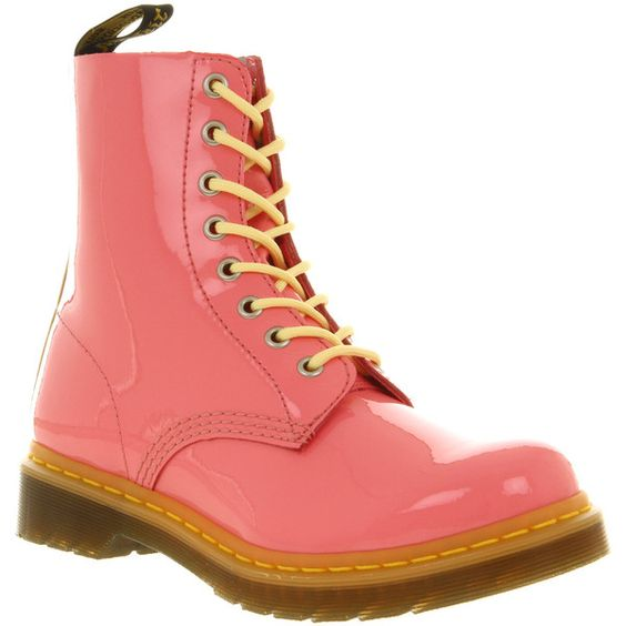 Dr. Martens 8 eyelet lace up bt pink patent yellow ($100) ❤ liked on Polyvore