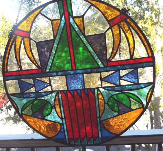 "Stain Glass""The Vintage Stain GLASS18"" Round Vibrant Color Design Very RARE 
