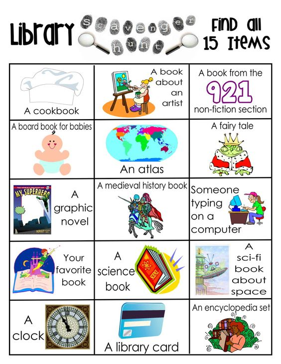 Library scavenger hunt free printable