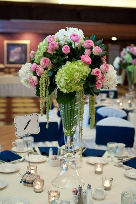 Tall wedding centerpieces green hydrangea pink garden