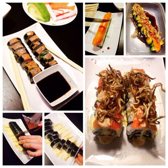 Sushi/Makis  Arroz tipo japonés, alga nori, vinagre, sal, queso Philadelphia, palta (aguacate), salmón ahumado, surimi (bastones sabor cangrejo), salsa soya, salsa de anguila, azúcar, mayonesa sabor cebolla, jugo de limón, gulas fritas.