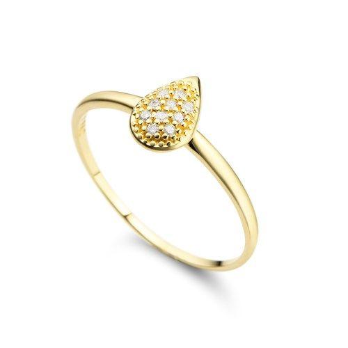 Anel em ouro amarelo 18k e 6 pts de diamantes - Coleção Pavê Gota
