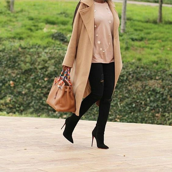 #maxmara coat #hm sweat #zara jeans #louboutinworld #sokatebooties #hermes birkin35