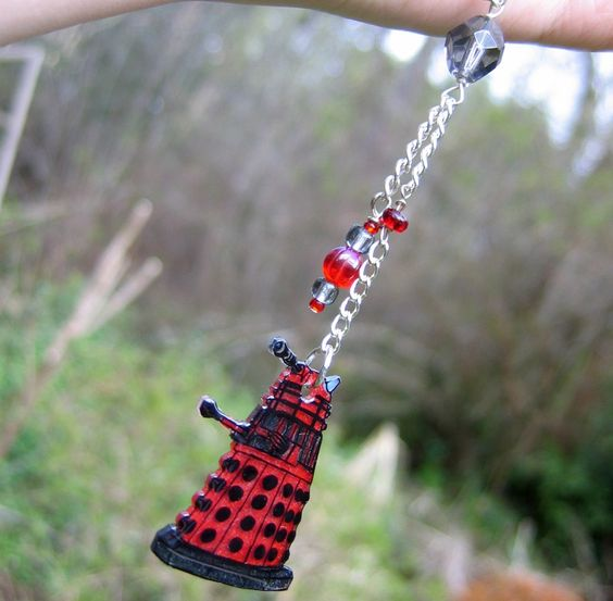 Doctor Who Dalek Lariat Necklace in Silver and Red. $23.00, via Etsy.