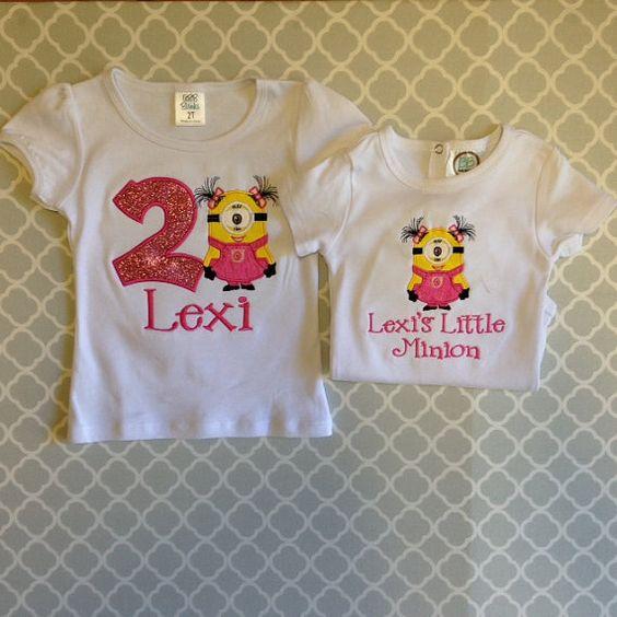 Sibling Minion Shirts by GritzandGlamour on Etsy