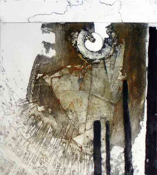 """""""Grounded Vessel IV : Phoenix Rising""""  by Peter Wray  Carborundum and mixed media  50x43 cm."""
