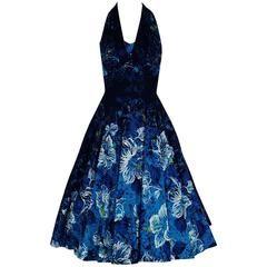 1950's Hawaiian Tropical-Hibiscus Blue Floral Print Cotton Halter Sun Dress