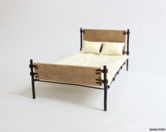 1/6 scale Rustic Miniature Bed with mattress and 2 pillows for dolls (Blythe, Barbie, Bratz, BJD, Pullip, Obitsu, Momoko). Urban industrial