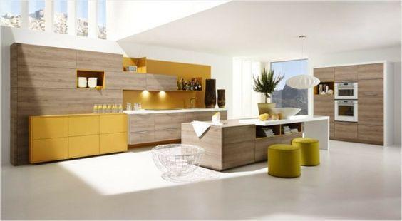 idées de design de la grande cuisine moderne en couleurs claires