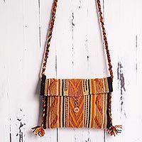 Wool shoulder bag, 'Colorina'
