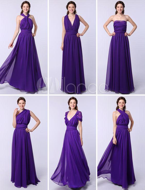 Robe demoiselle d'honneur en violet bleuâtre à tordu et dos décolleté