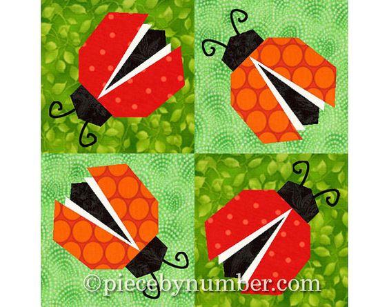 Ladybug quilt block pattern, paper pieced quilt patterns instant download PDF, ladybug pattern, ladybird pattern, lady bug quilt pattern