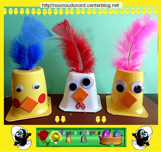 la poule et ses deux poussins de p 226 ques r 233 alis 233 s avec des pots de yaourts http nounoudunord