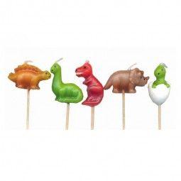 Minikerzen Kindergeburtstag. Dinosaurier, 5 Stk.