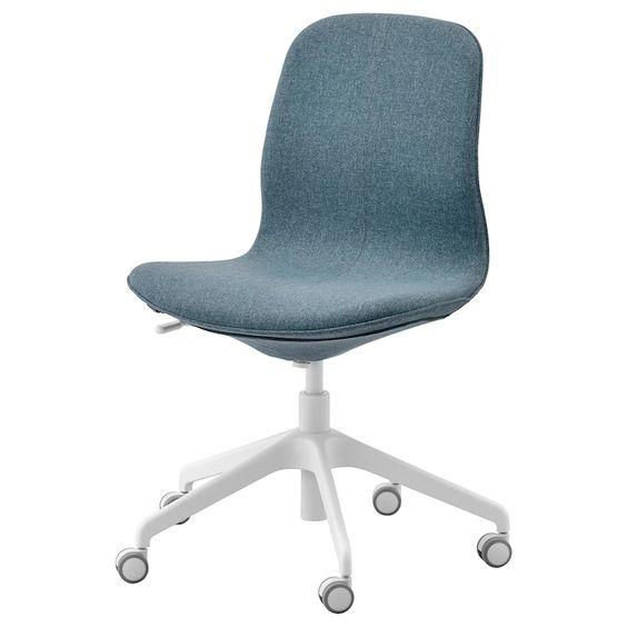 Langfjall Chaise De Bureau Gunnared Bleu Blanc Avec Images Chaise Bureau Ikea Centre De Recyclage