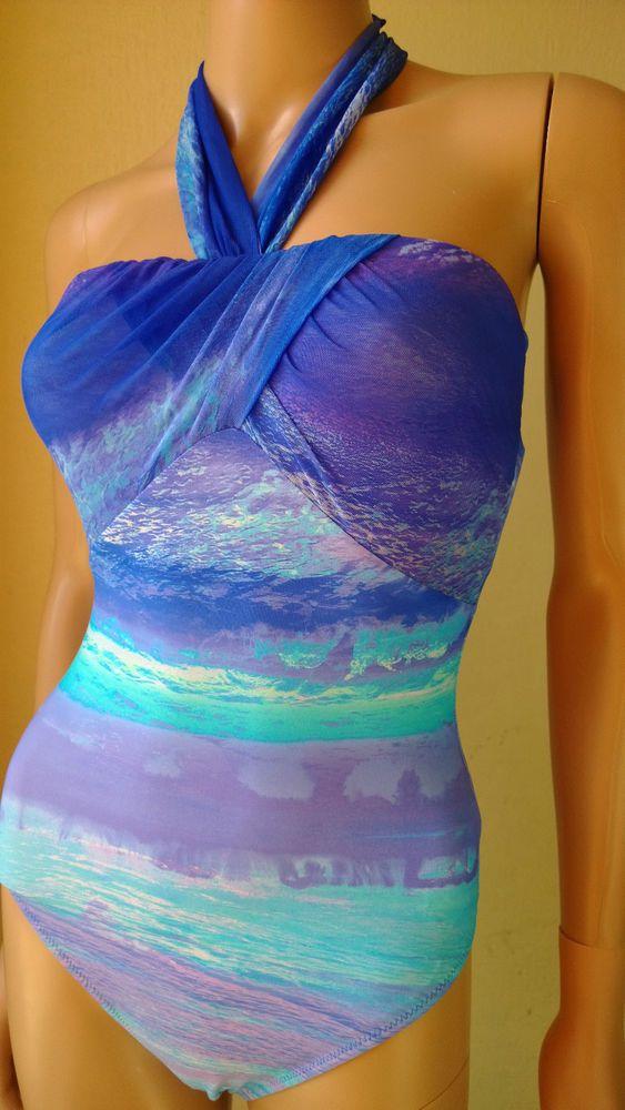 Gottex swimsuit Calypso Aqua Blue luxury swimming costume £55 at Purple Fairy princess Boutique