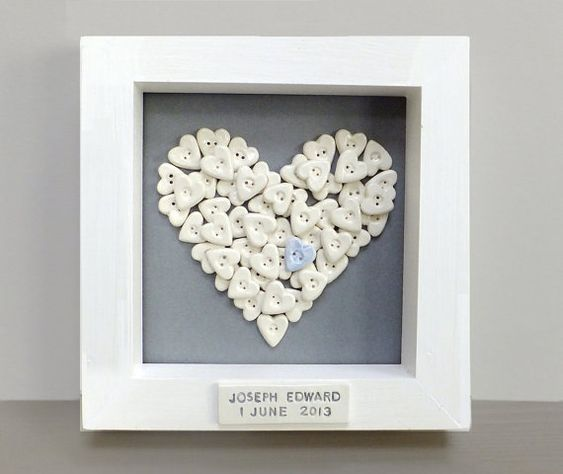 Personalised baby, christening gift, naming present.  Baby boy christening, baptism. Framed baby wall art, button collage on Etsy, $68.31