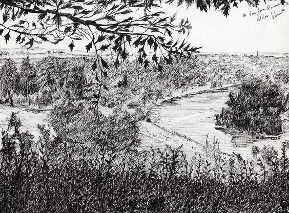View From Richmond Hill Drawing