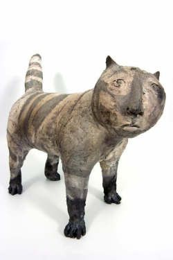 Feline ceramic sculpture by Susan Halls, 1997: