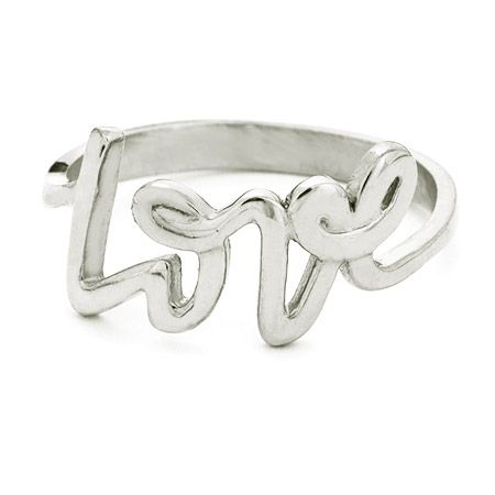 Tiffany Style Sterling Silver Scripted Love Ring